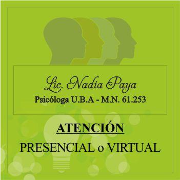 Licenciada Nadia Paya  Psicóloga
